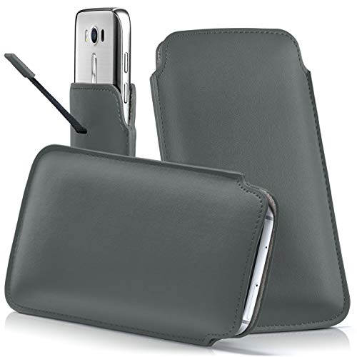 moex ASUS ROG Phone | Hülle Grau Sleeve Slide Cover Ultra-Slim Schutzhülle Dünn Handyhülle für ASUS ROG Phone Case Full Body Handytasche Kunst-Leder Tasche
