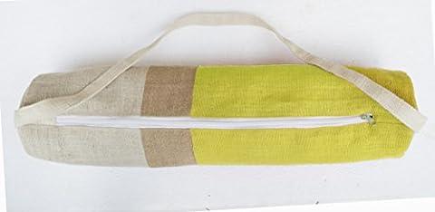 Modernes Yoga Mat Bag–gelb jute Turnbeutel in Moderne Farbe Block