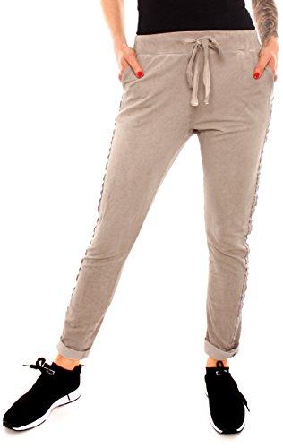 Damen Sweat Jersey Sport Relax Hose Sweatpants Jogginghose Joggpants Jogger Lang Baumwolle Silber Glitzer Seitenstreifen Braun Fango S - 36