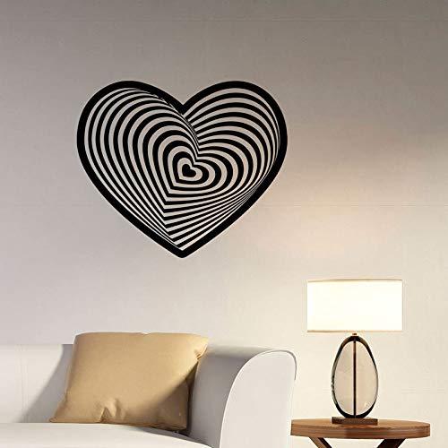 jiushizq Visuelle Illusion Liebe Wandtattoos Abstrakte Romantische Logo Vinyl Aufkleber Art Deco Für Familien Schlafzimmer Valentinstag Dekoration Rosa 64x57 cm (Wand-kalender Illusion)