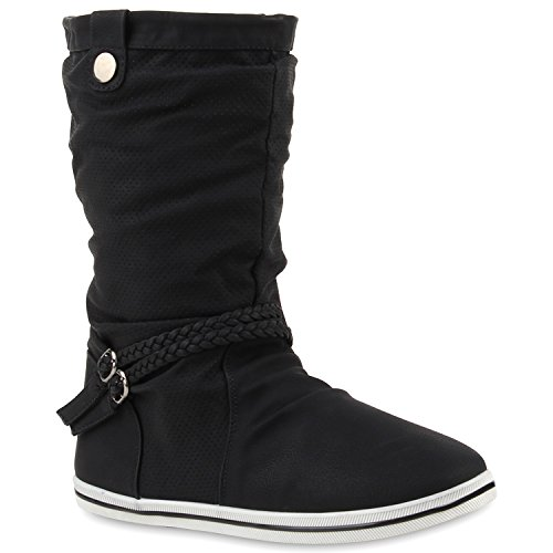 Damen Stiefeletten Schlupfstiefel Flach Stiefel Leder-Optik Metallic Boots Trendy Übergangs Schuhe 109961 Schwarz Zierknöpfe 36 Flandell