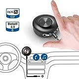 récepteur Avantree | Auto auxiliaire Bluetooth 4.0aptX pour un son de qualité dans votre musique et appels | Reproduction via votre autoradio stéréo sans fil | entrée 3,5mm avec kit mains libres–Visage II