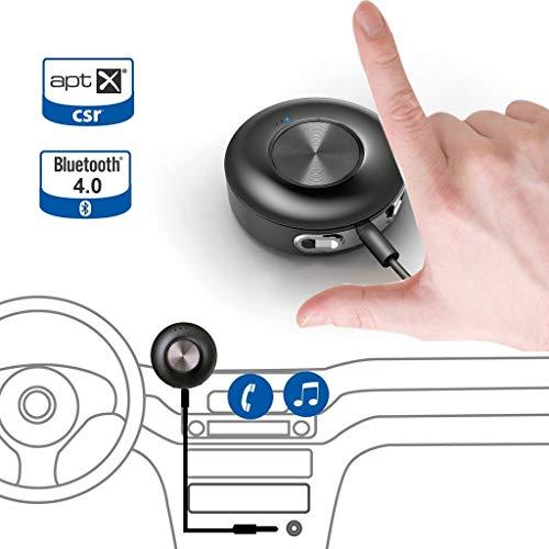 Avantree Empfänger Auto AUX Bluetooth 4.0APTX für Qualität Sound in Ihre Musik und Anrufe | Reproduktion durch Ihr Auto Stereo | 3,5mm Eingang mit Wireless Handsfree Kit-Face II