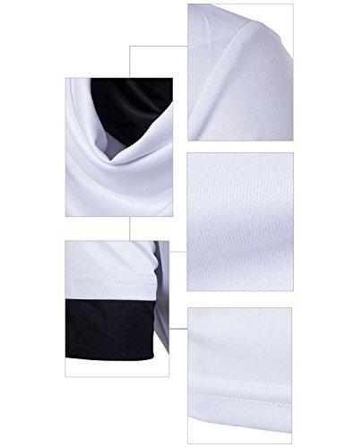 YCHENG Herren Mode Schalkragen T-Shirt Sommer Kurzarm Shirts Modern Oberteile Polohemd Weiß