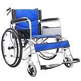 XKRSBS Sillas de Ruedas Silla de Ruedas Plegable Silla de Ruedas para discapacitados Pacientes de Edad Avanzada Servicio estándar para sillas de Ruedas Personas de Edad Avanzada,Blue