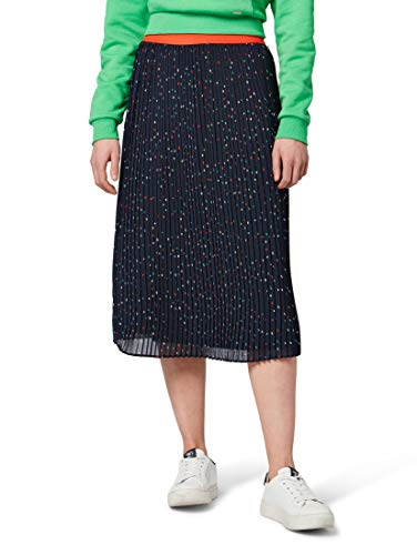 TOM TAILOR Denim für Frauen Röcke Plissee-Rock Navy Multicolor dot Design, XS -