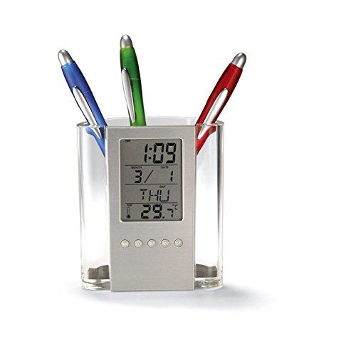 Thermometer-box (REFURBISHHOUSE Neue Multifunktions Tischkalender/Bleistift Box LCD Thermometer und Kalender Display Office und Schule Desktop Stifthalter)