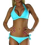 ALZORA Neckholder Damen Bikini Push Up Set Top und Hose Auswahl Farben , 10345 (XS, Türkis)