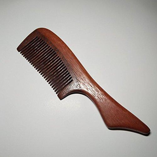 Chenxi Shop Natura Peigne de bois de santal Vert pas statique en bois Noir à dents fine Buffalo Peigne en corne