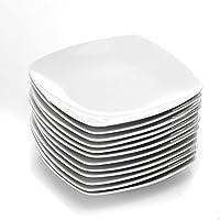 Malacasa, serie Julia, 12 piezas plato de plato de postre de porcelana 20 cm para 12 personas