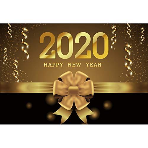 OERJU 1,5x1m Neujahr Hintergrund Frohes neues Jahr. 2020. Fotografie. Goldenes Band. Banner. Punkte Hintergrund Feiern Sie das Neue Jahr 2020 Partei Porträt Winterfeier Requisiten