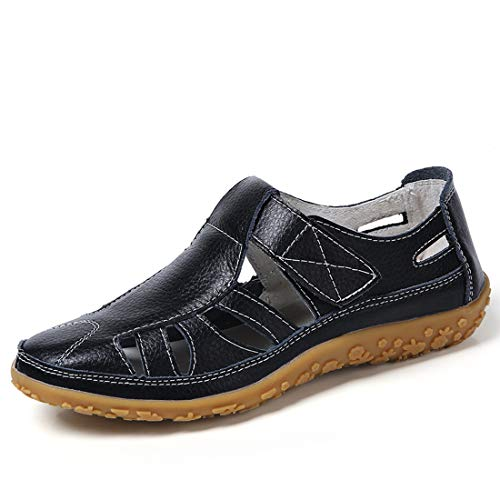 6f74a7eee9f Z.SUO Sandalias Mujer de Cuero Planas Cómodos Casual Mocasines Loafers Moda  Zapatos Plano Verano
