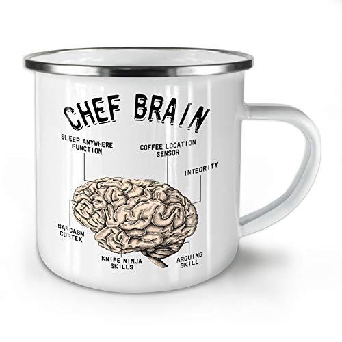 Wellcoda Koch Gehirn Emaille-Becher, Struktur Anatomie - 10 Unzen-Tasse - Kräftiger, griffiger Griff, Zweiseitiger Druck, Ideal für Camping und Outdoor Gourmet-becher