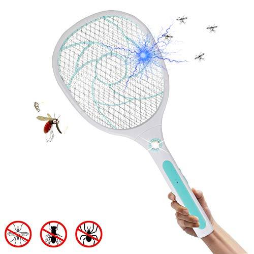 MojiDecor Elektrische Fliegenklatsche Fliegenfänger Moskito Zapper/Insektenvernichter mit LED-Beleuchtung - USB wiederaufladbar - Doppelte Schichten Mesh Schutz|MEHRWEG (Blau)
