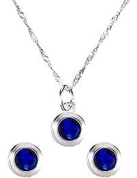 Córdoba Jewels | Conjunto de gargantilla y pendientes en Plata de Ley 925. Diseño Esfera Zirconium Montana