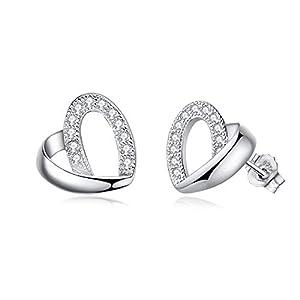 Abiguelle Ohrstecker Damen Silber Ohrstecker Zirkonia Ohrringe Schmuck 925 Sterling Silber Ohrringe für Damen, Liebe Herz Ohrringe, Geschenk für Frauen Mädchen