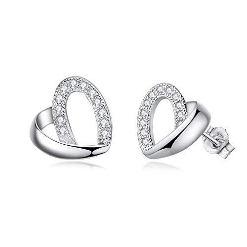 (Abiguelle Ohrstecker Damen Silber Ohrstecker Zirkonia Ohrringe Schmuck 925 Sterling Silber Ohrringe für Damen, Liebe Herz Ohrringe, Geschenk für Frauen Mädchen)