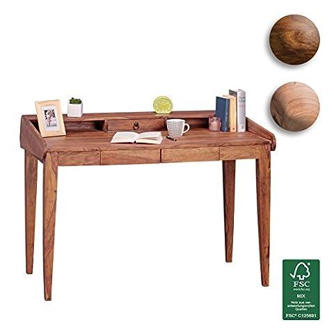 FineBuy Schreibtisch Massiv-Holz Sheesham Computertisch 117 cm breit mit 3 Schubladen Design Büro-Tisch Landhaus-Stil Büro-Möbel Echt-Holz Sekretär Natur-Produkt PC-Tisch braun mit Fächer für Ablage