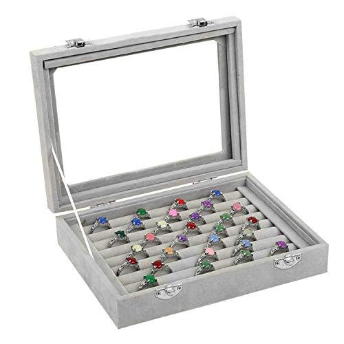 Ring-Aufbewahrungsbox - Ringhalteretui mit transparentem Deckel - Platz für bis zu 72 Ringe - Schmuckbox - Ring-Displaybox - 9 x Samtfutterrollen für Schmuck, Ringe, Ohrringe und mehr