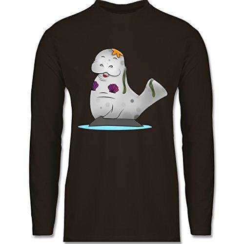 Sonstige Tiere - Meerjung-Seekuh - Longsleeve / langärmeliges T-Shirt für Herren Braun