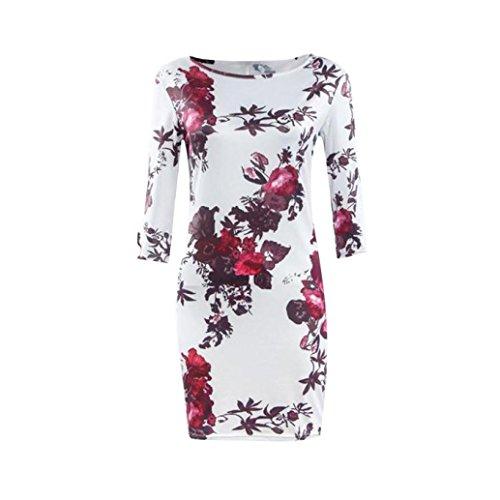 Amlaiworld Femmes impression robe gaine robe tunique, robes Bodycon Vestidos Robe Multicolore