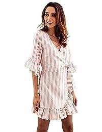 cff3b945d6 De Mujer Sección Media y Larga. Estampado de Rayas Camisa Manga Cuello en v  Cinturón