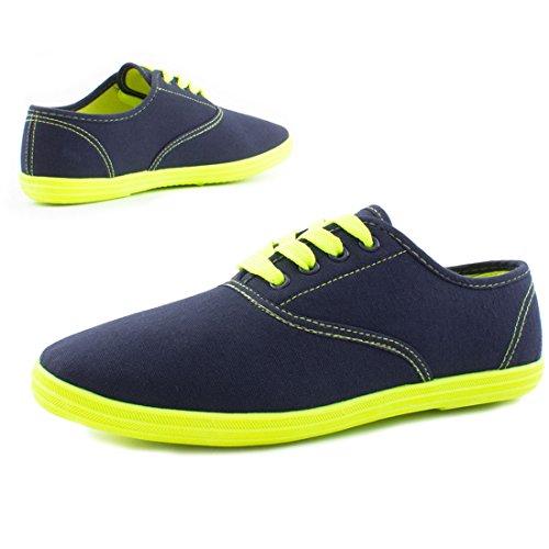 Trendige Low Top Damen Schnür Sneaker Schuhe in Textil Blau Neon