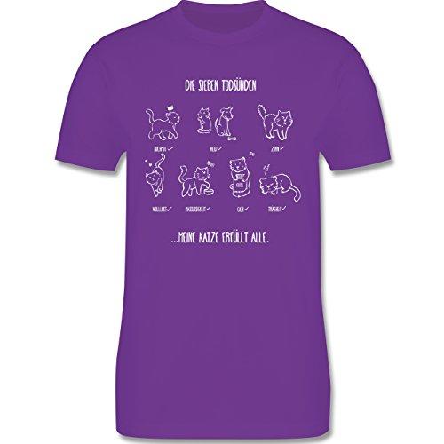 Katzen - witziges Katzenmotiv - Todsünden - Herren Premium T-Shirt Lila