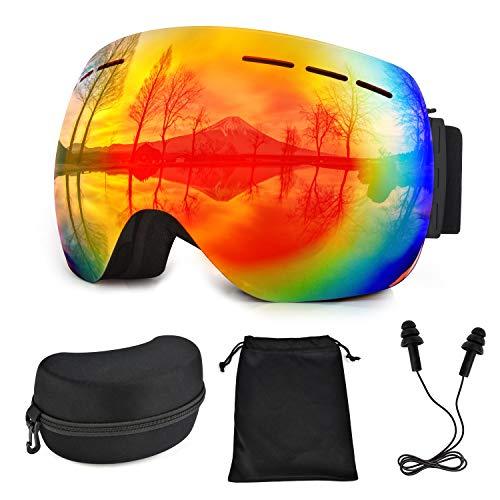 Lolypot Skibrille Snowboard Brille OTG Anti-Fog Skibrille Ski Schutzbrille Anti-Nebel UV-Schutz Doppel-Objektiv Winddicht Skibrillen Helmkompatible Ski Goggles für Damen und Herren -
