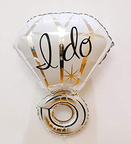 HANJIAJKL 32 Zoll Diamant Ring Aluminium Ballon/Hochzeitsdekoration/für Hochzeit, Party, Hochzeitsraum,White -
