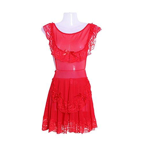 WDDGPZSY Nachthemd/Nachtwäsche/Schlafhemd/Homewear/Pyjamas/Lace Blackless Frauen Nachthemd + G-Thong Sets Deep V Frauen Dessous Frauen Pajamass Mujer, Rot, One Size