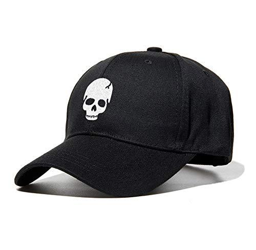 JIACHIHH Baseballmütze Baumwolle,Sommer Schwarz Baseball Cap Skull Totenkopf Stickerei Hut Mode Accessoires Baseball Cap Casual Hut