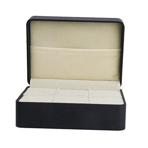 1 Stk. Schmuckschatulle Krawattenhalter schwarz Manschettenknöpfe Speicher Box Fall w / 6 Slots
