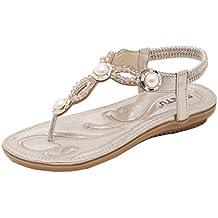 Damen Sandalen Zehentrenner Flach Sandaletten Sommer Schuhe Bohemian Strass Mädchen Strand Hausschuhe Outdoor Braun 41 KolrTjq2c