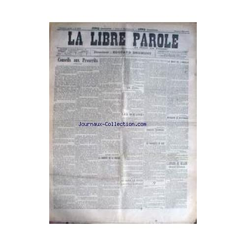 LIBRE PAROLE (LA) [No 4036] du 09/05/1903 - LES MOEURS - MOUQUIN SE DISTINGUE - LA LIBERTE DE LA PRESSE - AFFAIRE DU MILLION - LES MARABOUTS DU BLOC.