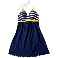 SaiDeng Donne Vintage Un Pezzo Mini Swimdress Capestro Collo Costume Da Bagno Con Gonna