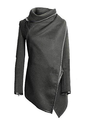 Damen Cardigan Lang Elegant Vintage Langarm Festlich Strickjacken Parka Große Größen Hoher Kragen Pullover Mantel Mit Zipper Irregular...