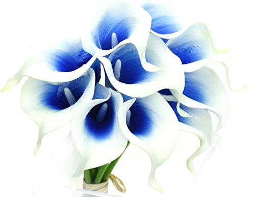 Fiveseasonstuff 10 pezzi qualità tocco realistico calla lilies artificiale mazzo di fiori, ideale per matrimoni, sposa, partito, casa, studio décor fai da te (bianca & blu)