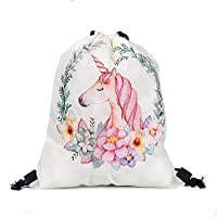 DERAYEE FINGOOO Large Unicorn Drawstring Backpack for Girls Party Bag Party Supplies