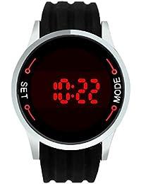 Sannysis® Hombres LED de la pantalla táctil de silicona reloj de pulsera Negro