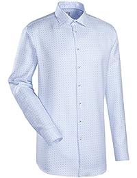 JACQUES BRITT Business Hemd Custom Fit Langarm Bügelleicht Karo Businesshemd Kent-Kragen Manschette weitenverstellbar