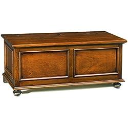 Arcón, estilo clasico, en madera maciza y mdf con acabado nogal pulido - Medidas 120 x 44 x 51