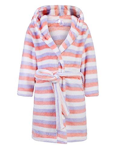 Bricnat - Albornoz para niña algodón, con Capucha, Forro Polar, con Capucha, diseño de Rayas, Color...