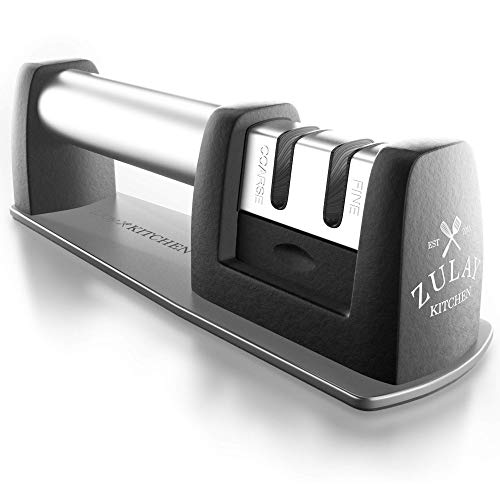Best manuell Edelstahl Messerschärfer für gerade und gezahnte Messer, Keramik und Wolfram-leicht Schärfen für stumpfes Edelstahl, Schälmesser, Köche und Pocket Schärft Messer, Schere von zulay Küche - Professional Butcher Knife