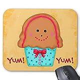 Mauspad für Gaming/Büro/Mauspad, rutschfeste Gummi-Unterseite, Weihnachten, Lebkuchen, Cupcake-Namen, personalisierbar