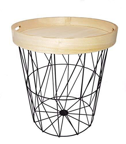 Beistelltisch rund mit Tablett (abnehmbar) - Designer Couchtisch Sofatisch Metall Tisch