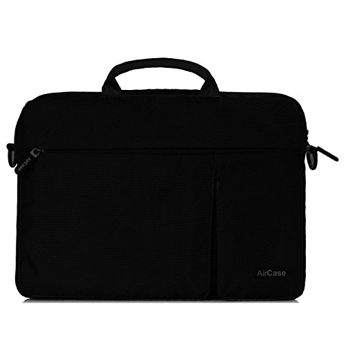AirPlus AirCase Designer Nylon Slim Sleeve Premium Water Resistance Multifunction Bag for Apple Macbook Pro / Pro Retina Display / Air 13.3 / 13 / 12 inch laptop with Shoulder Strap, MagSafe access zipper, sleep pocket for iPad & iPod [CARBON BLACK]