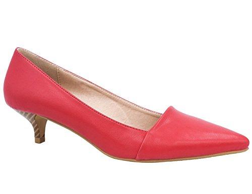 Greatonu Zapatos de Tacón Bajo de Aguja Rojo PU Modo Clásico de Baile para Mujer Tamaño 37 EU