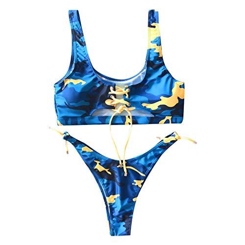 Damen Bikini Zweiteiliger Dunkle Farbe Geteilter Badeanzug Push up Bikini Set Neckholder Bikini ALISIAM Oberteil Mit High Waist Bikini Bottom Damen Badeanzug Sport Zweiteiliger Badeanzug -