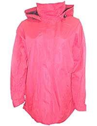 Ladies Red Lined Waterproof Jacket with Hood Sizes 12-18 Available